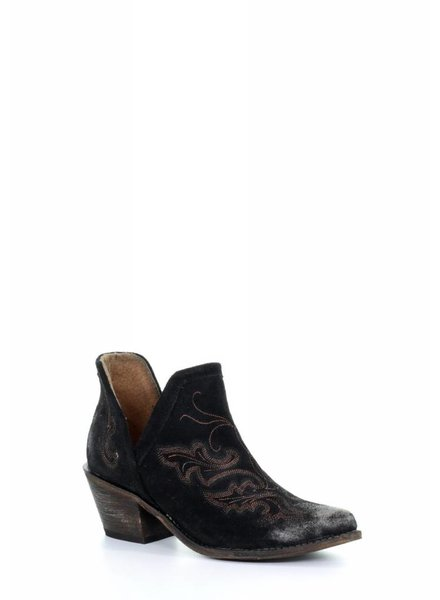 CIRCLE G WOMEN'S WESTERN COWBOY BLACK EMBROIDERY ANKLE BOOTS