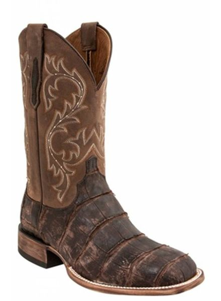 LUCCHESE MALCOLM CHOCOLATE GIANT GATOR BOOTS BY LUCCHESE