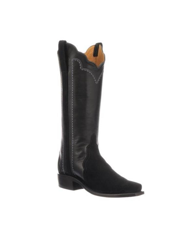 LUCCHESE SHANNON BLACK SUEDE BOOT BY LUCCHESE