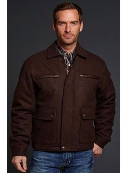 CRIPPLE CREEK WOOL JACKET WITH FAUX LEATHER TRIM