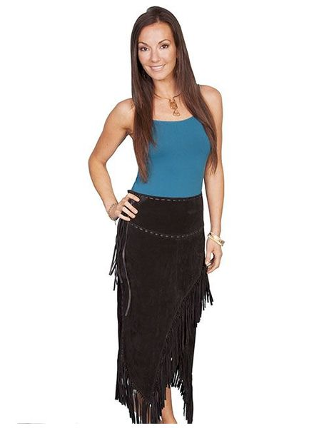 SCULLY BLACK SUEDE FRINGE SKIRT (LG AND XL REMAINING)