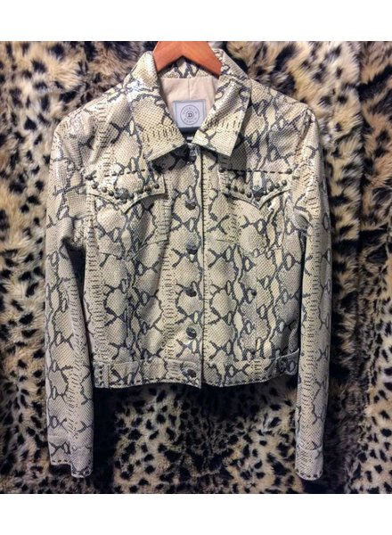 "DOUBLE D RANCHWEAR SNAKESKIN PATTERN LEATHER VIPER JACKET  ""MED ONLY"""