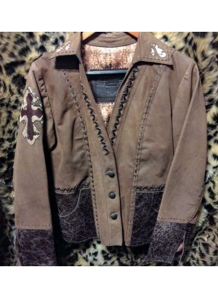 BROWN LEATHER CALF PYTHON CROSS JACKET