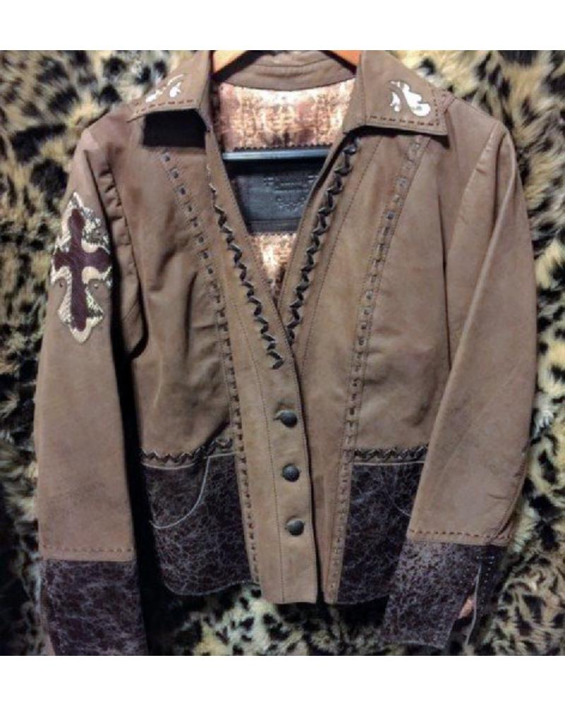 CORRAL BROWN LEATHER CALF PYTHON CROSS JACKET