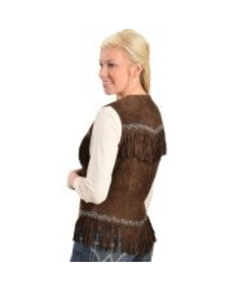 SCULLY Womens Leather Suede Fringe Western Vest 3 REMAINING GRAY/BROWN