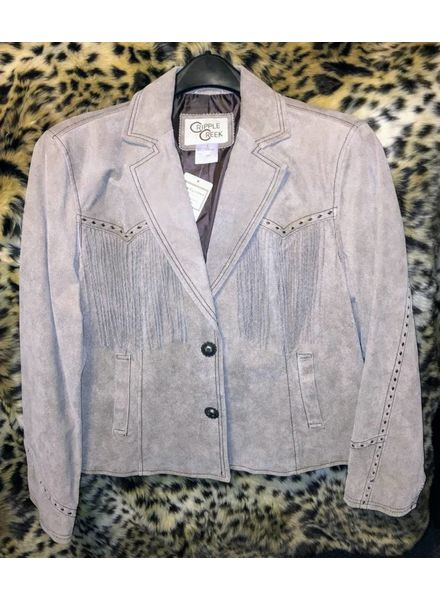 CRIPPLE CREEK WOMENS DISTRESSED FRINGE LEATHER JACKET