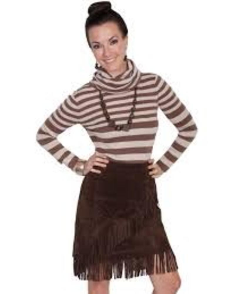 SCULLY SCULLY ESPRESSO SUEDE FRINGE SKIRT