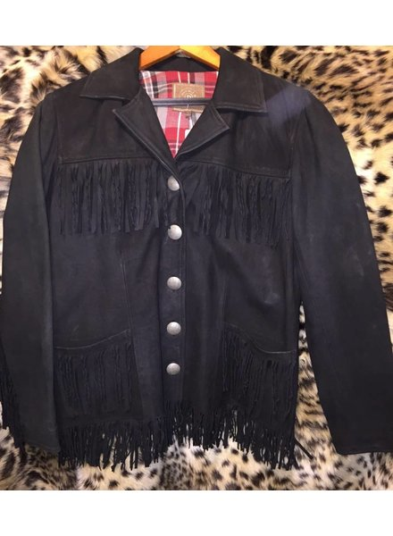 DOUBLE D RANCHWEAR BLACK SUEDE FRINGE YOMA JACKET