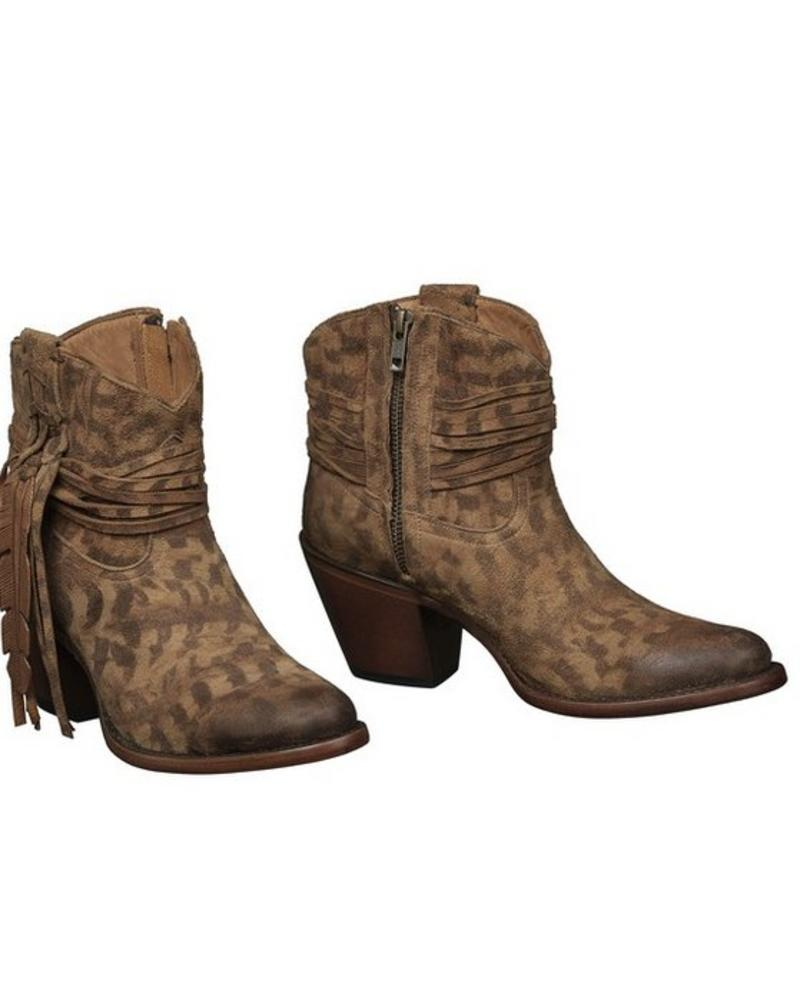 LUCCHESE ROBYN TAN FEATHER SHORTIE