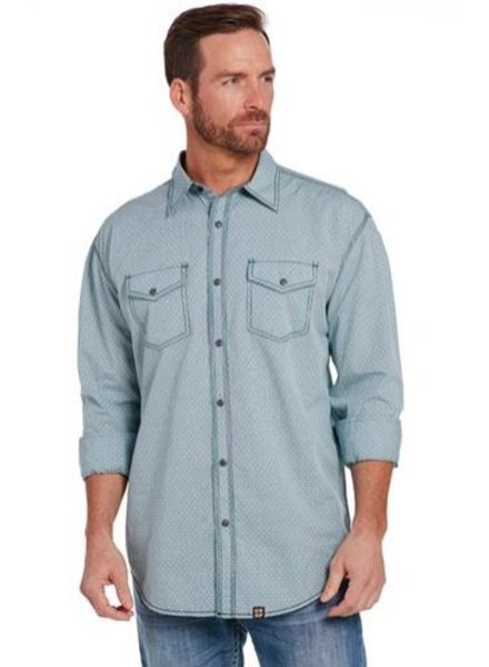 CRIPPLE CREEK LONG SLEEVE LIGHT ENZYME WASH WOVEN SHIRT
