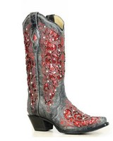 BLACK-RED GLITTER BOOT