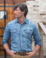 RYAN MICHAEL MEN'S FLORAL INDIGO SHIRT