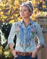 RYAN MICHAEL EMBROIDERED DENIM SHIRT