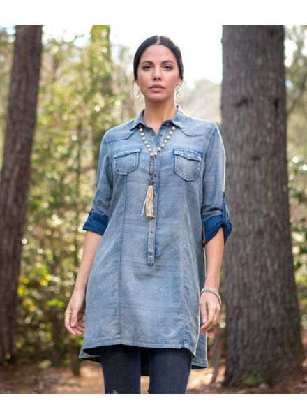 RYAN MICHAEL SERAPE DENIM DRESS