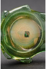 Disk Glass Disk Glass Green Stardust Double Sided Pendant