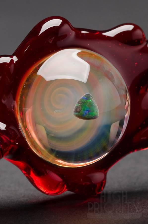Disk Glass Disk Glass Red Elvis Pendant