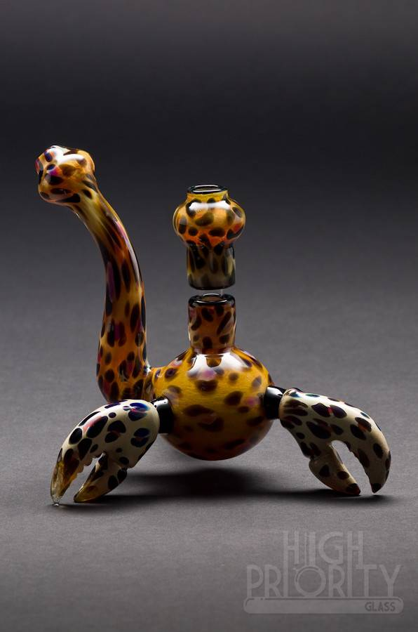 Triple A Glass Triple A Glass Leopard Print Crab Claw Bubbler