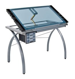 STUDIO DESIGNS FUTURA CRAFT STATION SILVER W/ BLUE GLASS