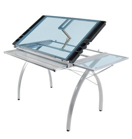 STUDIO DESIGNS FUTURA CRAFT STATION WITH FOLDING SHELF SILVER/BLUE GLASS