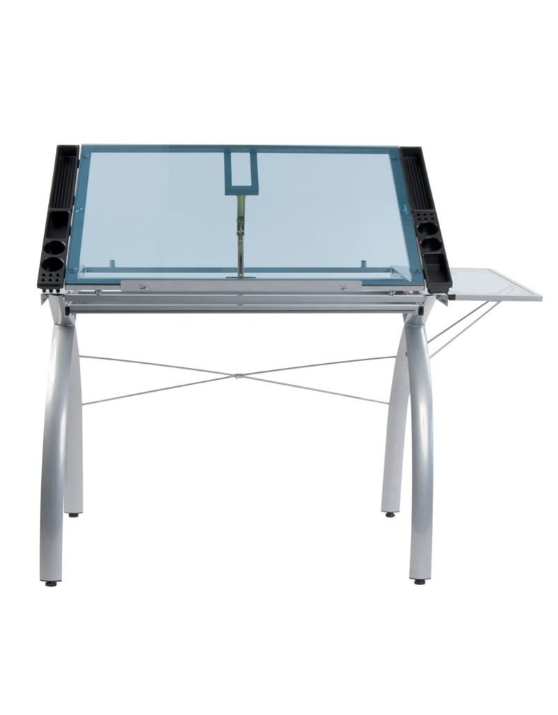 STUDIO DESIGNS FUTURA CRAFT STATION WITH FOLDING SHELF SILVER/BLUE GLASS