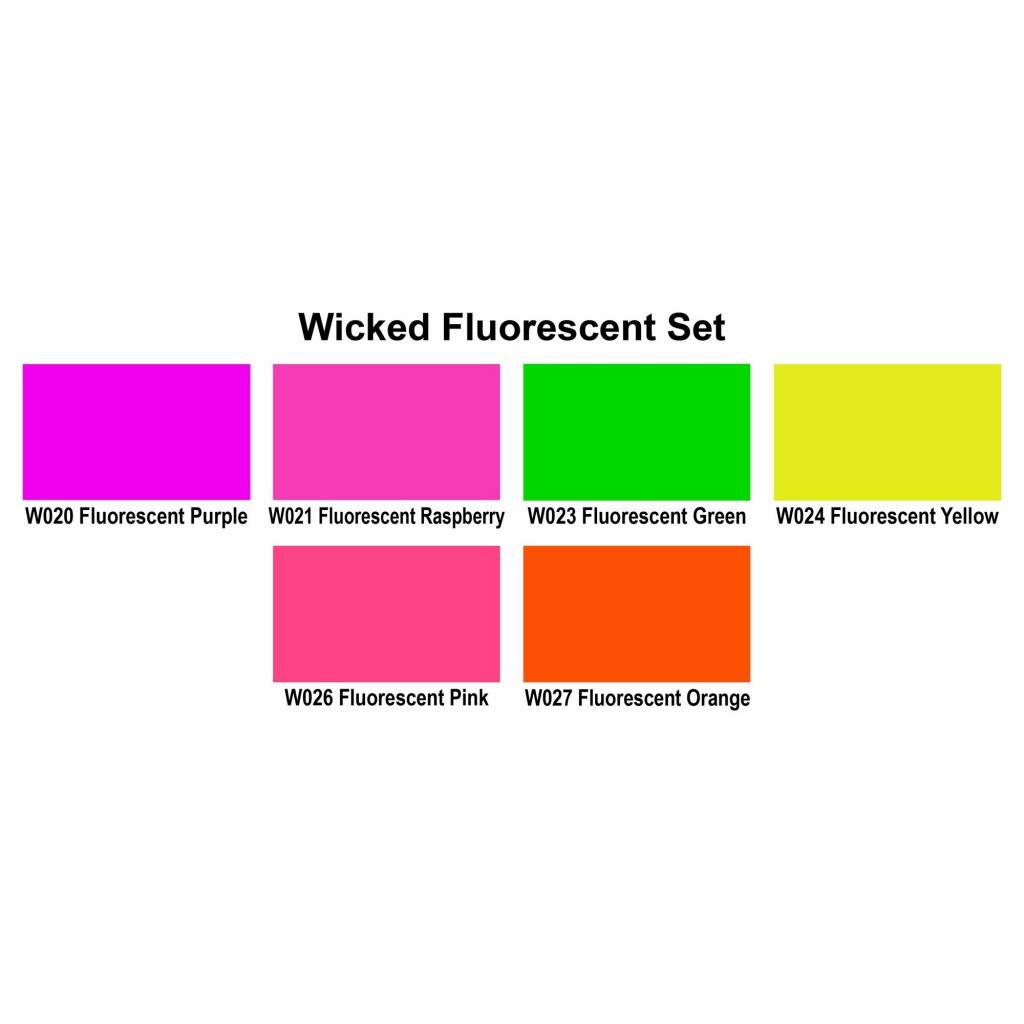 CREATEX WICKED COLOR FLUORESCENT SET/6