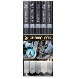 CHAMELEON CHAMELEON COLOUR TONES MARKERS GRAY SET/5