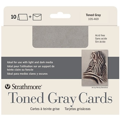 STRATHMORE STRATHMORE TONED GRAY CARDS WITH ENVELOPES 5X7