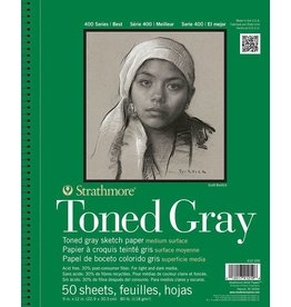 STRATHMORE STRATHMORE TONED GRAY SKETCH PAPER PAD 11X14 TOP COIL 80LB  24SHT    412-111