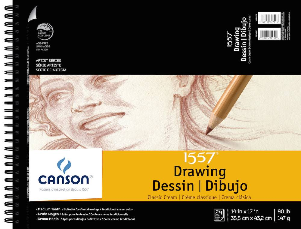 CANSON CANSON 1557 CLASSIC CREAM DRAWING PAD 14X17 90LB SIDE COIL  24/SHT    100510975