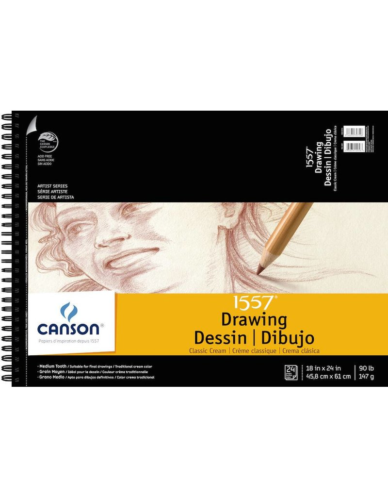 CANSON CANSON 1557 CLASSIC CREAM DRAWING PAD 18X24 90LB SIDE COIL  24/SHT    100510976