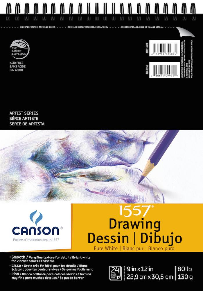 CANSON CANSON ARTIST SERIES PURE WHITE DRAWING PAD 9X12  24/SHT    CAN-100510890