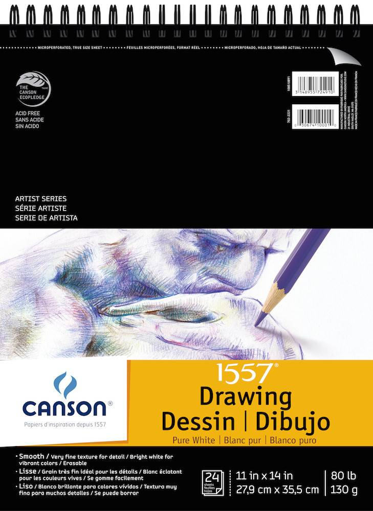 CANSON CANSON ARTIST SERIES PURE WHITE DRAWING PAD 11X14  24/SHT    100510891