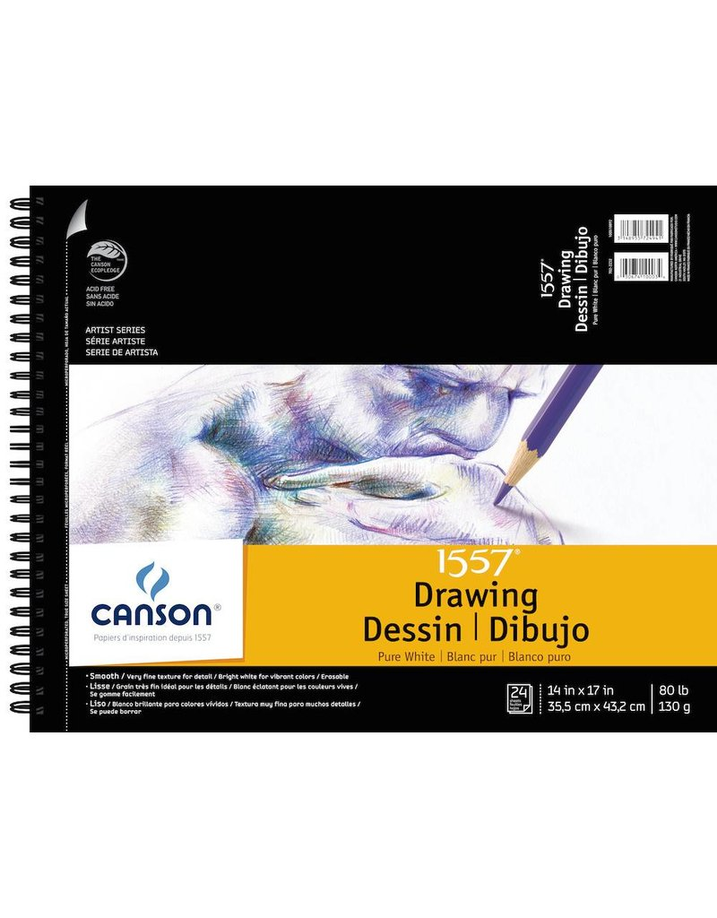 CANSON CANSON ARTIST SERIES PURE WHITE DRAWING PAD 14X17  24/SHT    100510892