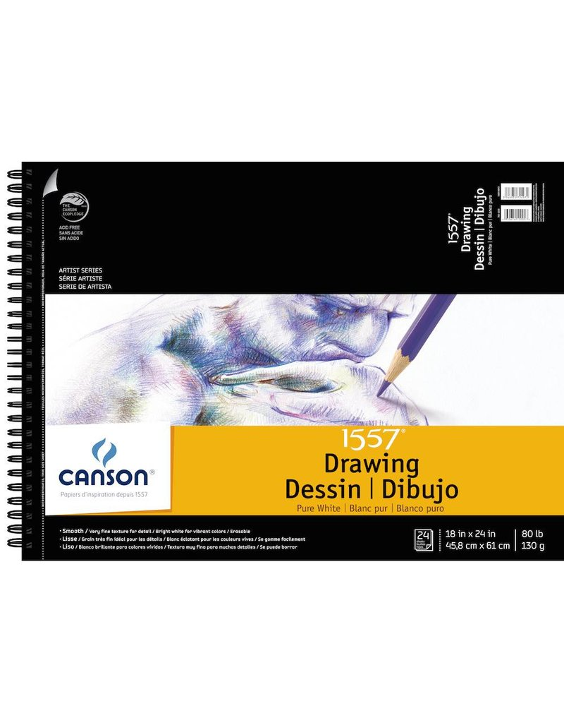 CANSON CANSON ARTIST SERIES PURE WHITE DRAWING PAD 18X24  24/SHT    100510893