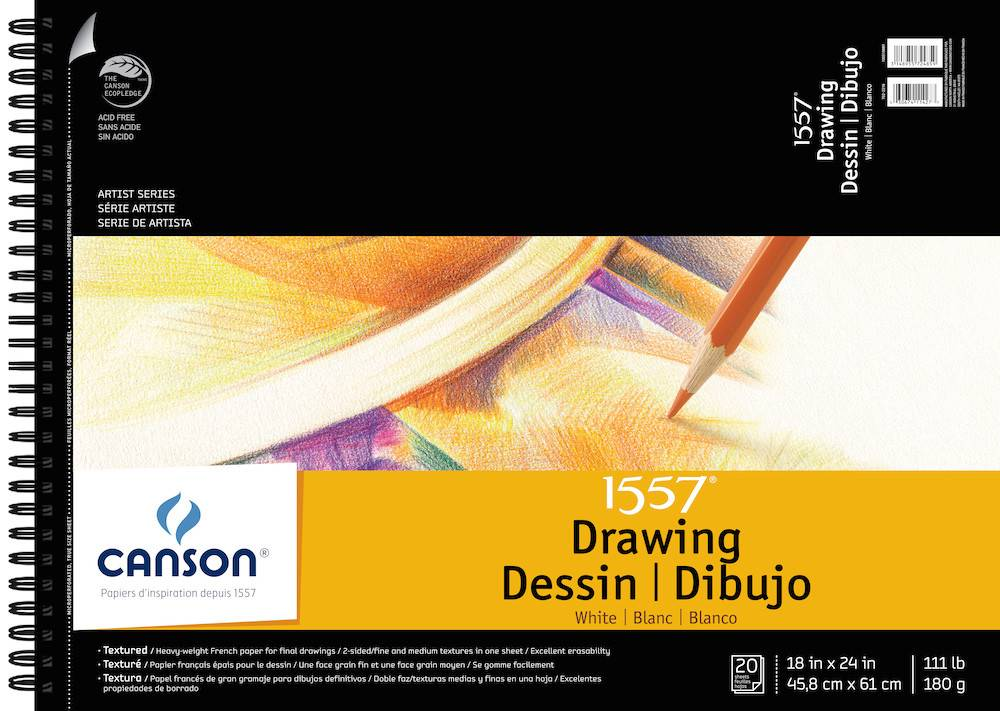 CANSON CANSON ARTIST SERIES C à GRAIN DRAWING PAD 18X24 SIDE COIL 20/SHT