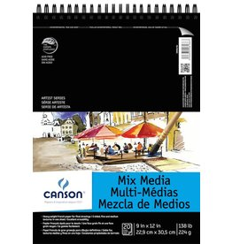 CANSON CANSON ARTIST SERIES MIX MEDIA PAD 9X12 138LB TOP COIL  20/SHT    CAN-200006186