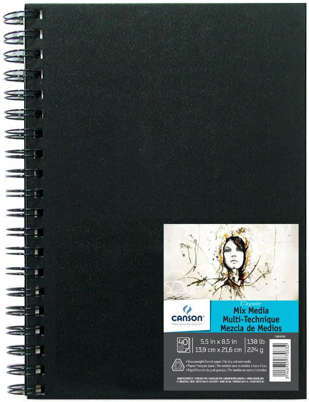 CANSON CANSON MIX MEDIA ART BOOK 5.5X8.5 138LB  HARDCOVER SIDE COIL  40/SHT    CAN-100516108