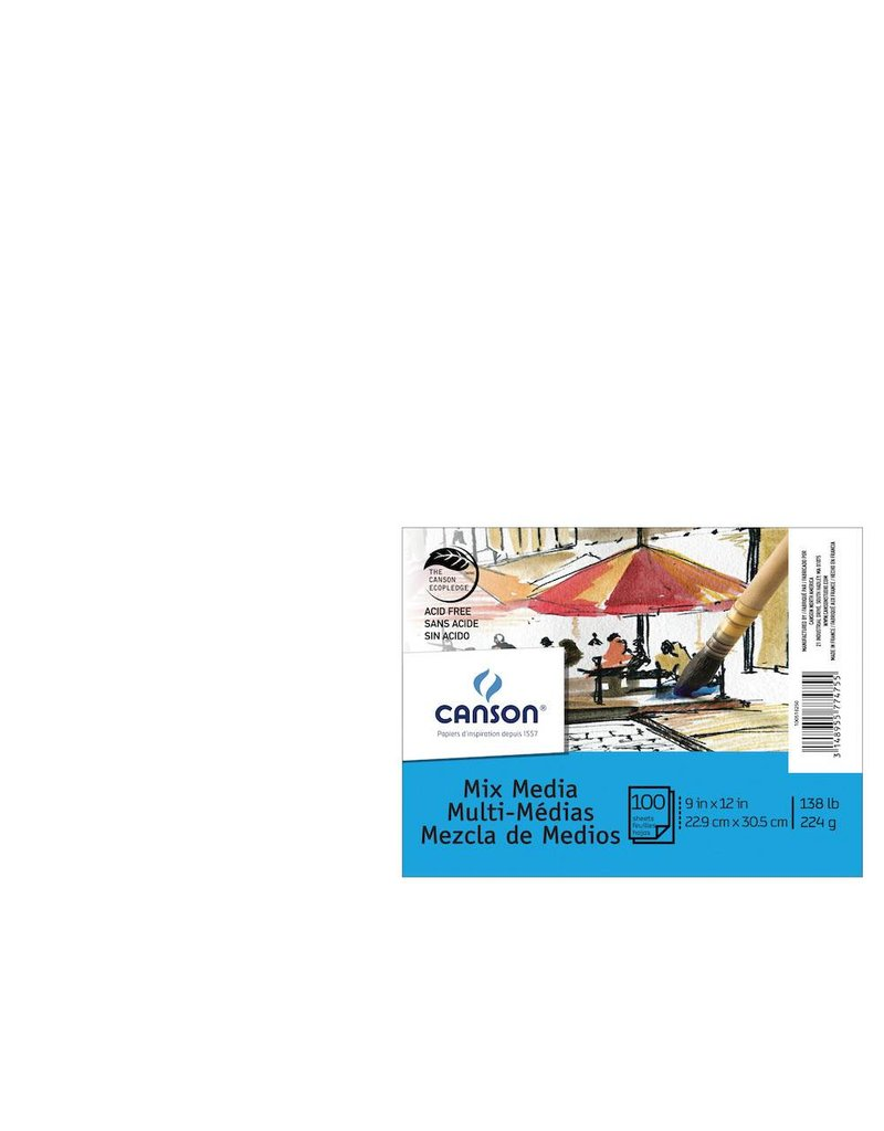 CANSON CANSON XL MIX MEDIA PAPER 9X12 138LB  100/PK    CAN-100516250