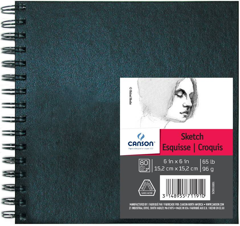 CANSON CANSON ARTIST SERIES SKETCH BOOK 6X6 65LB SIDE COIL  80/SHT    CAN-100510426