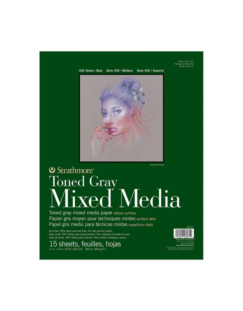 STRATHMORE STRATHMORE TONED GRAY MIXED MEDIA PAD 11X14 TAPE BOUND  15/SHT    STR-462-311