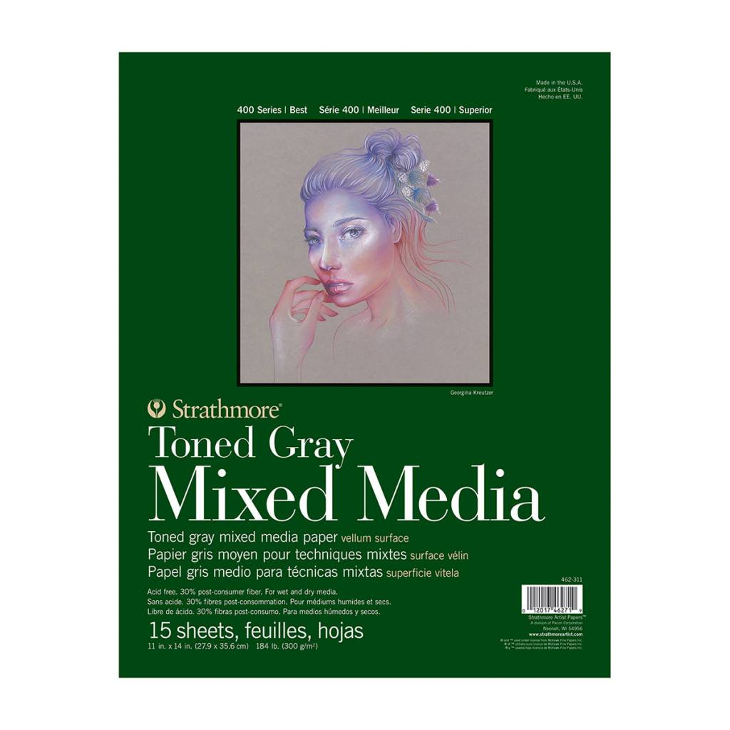 STRATHMORE STRATHMORE TONED GRAY MIXED MEDIA PAD 11X14 TAPE BOUND  15/SHT    STR-462-311