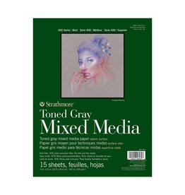 STRATHMORE STRATHMORE TONED GRAY MIXED MEDIA PAD 9X12 TAPE BOUND  15/SHT    STR-462-309