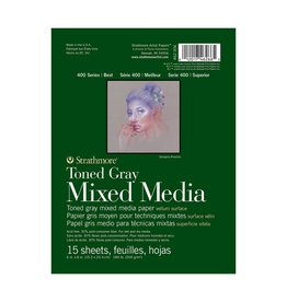 STRATHMORE STRATHMORE TONED GRAY MIXED MEDIA PAD 6X8 TAPE BOUND  15/SHT    STR-462-306