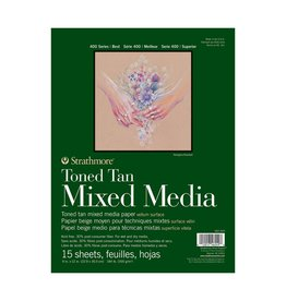 STRATHMORE STRATHMORE TONED TAN MIXED MEDIA PAD 9X12 140LB TAPE BOUND  15/SHT    STR-462-209