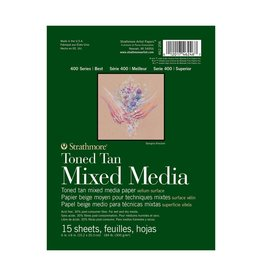 STRATHMORE STRATHMORE TONED TAN MIXED MEDIA PAD 6X8 140LB TAPE BOUND  15/SHT    STR-462-206