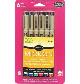 SAKURA PIGMA MICRON PEN 005 0.20MM ASSORTED COLOUR SET/6  30064