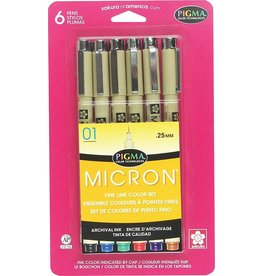 SAKURA PIGMA MICRON PEN 01 0.25MM ASSORTED COLOUR SET/6  30063
