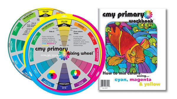 COLOR WHEEL COMPANY CMY PRIMARY MIXING WHEEL AND WORKBOOK - 5 inch