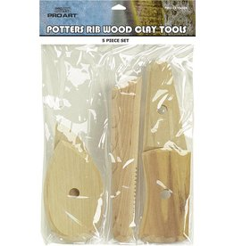 PRO ART PRO ART POTTERS RIBS WOOD CLAY MODEL TOOL SET/5