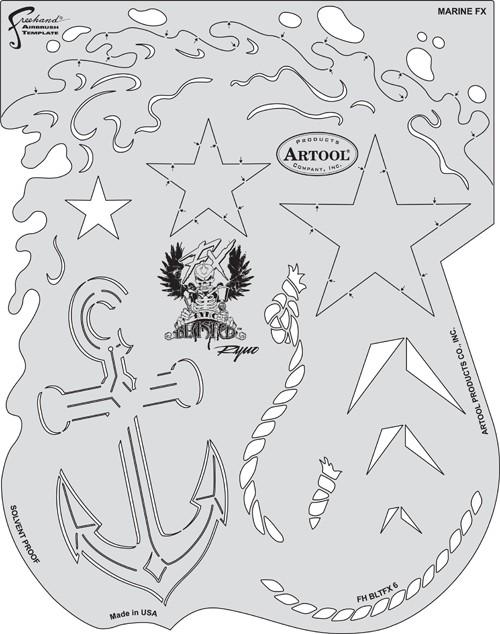 ARTOOLPRODUCTS ARTOOL FREEHAND AIRBRUSH TEMPLATE BLTFX 6 MARINE FX